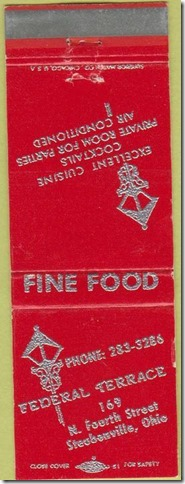 federal terrace matchbook